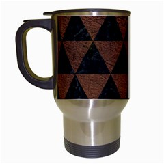 Triangle3 Black Marble & Dull Brown Leather Travel Mugs (white) by trendistuff