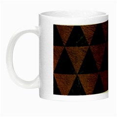 Triangle3 Black Marble & Dull Brown Leather Night Luminous Mugs by trendistuff