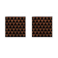 Triangle3 Black Marble & Dull Brown Leather Cufflinks (square) by trendistuff