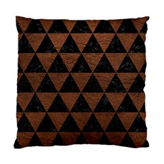 Triangle3 Black Marble & Dull Brown Leather Standard Cushion Case (two Sides)