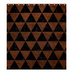 Triangle3 Black Marble & Dull Brown Leather Shower Curtain 66  X 72  (large)  by trendistuff