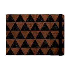 Triangle3 Black Marble & Dull Brown Leather Apple Ipad Mini Flip Case