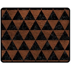 Triangle3 Black Marble & Dull Brown Leather Double Sided Fleece Blanket (medium)  by trendistuff