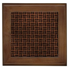 Woven1 Black Marble & Dull Brown Leather Framed Tiles by trendistuff