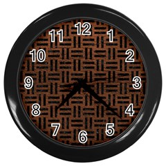 Woven1 Black Marble & Dull Brown Leather Wall Clocks (black) by trendistuff