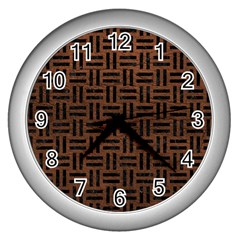 Woven1 Black Marble & Dull Brown Leather Wall Clocks (silver)  by trendistuff