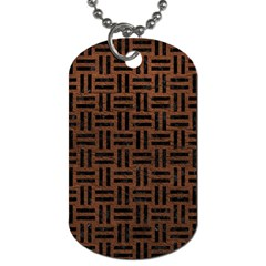 Woven1 Black Marble & Dull Brown Leather Dog Tag (one Side) by trendistuff
