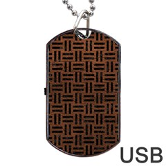 Woven1 Black Marble & Dull Brown Leather Dog Tag Usb Flash (one Side) by trendistuff
