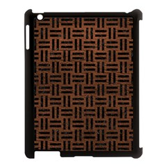 Woven1 Black Marble & Dull Brown Leather Apple Ipad 3/4 Case (black) by trendistuff