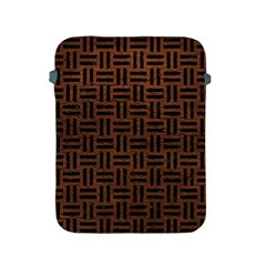 Woven1 Black Marble & Dull Brown Leather Apple Ipad 2/3/4 Protective Soft Cases by trendistuff