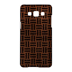 Woven1 Black Marble & Dull Brown Leather Samsung Galaxy A5 Hardshell Case  by trendistuff