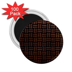 Woven1 Black Marble & Dull Brown Leather (r) 2 25  Magnets (100 Pack)  by trendistuff