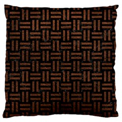 Woven1 Black Marble & Dull Brown Leather (r) Large Cushion Case (two Sides) by trendistuff