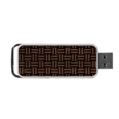 Woven1 Black Marble & Dull Brown Leather (r) Portable Usb Flash (one Side) by trendistuff