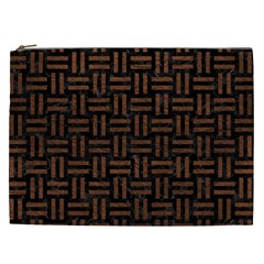 Woven1 Black Marble & Dull Brown Leather (r) Cosmetic Bag (xxl)  by trendistuff