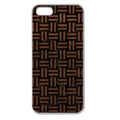 Woven1 Black Marble & Dull Brown Leather (r) Apple Seamless Iphone 5 Case (clear) by trendistuff