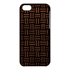 Woven1 Black Marble & Dull Brown Leather (r) Apple Iphone 5c Hardshell Case by trendistuff