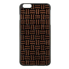 Woven1 Black Marble & Dull Brown Leather (r) Apple Iphone 6 Plus/6s Plus Black Enamel Case by trendistuff
