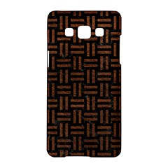 Woven1 Black Marble & Dull Brown Leather (r) Samsung Galaxy A5 Hardshell Case  by trendistuff