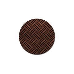 Woven2 Black Marble & Dull Brown Leather Golf Ball Marker by trendistuff