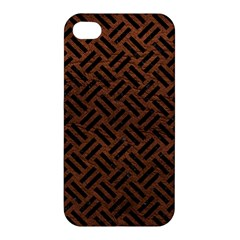 Woven2 Black Marble & Dull Brown Leather Apple Iphone 4/4s Hardshell Case by trendistuff