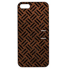 Woven2 Black Marble & Dull Brown Leather Apple Iphone 5 Hardshell Case With Stand by trendistuff