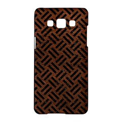 Woven2 Black Marble & Dull Brown Leather Samsung Galaxy A5 Hardshell Case  by trendistuff