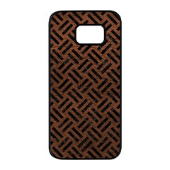 Woven2 Black Marble & Dull Brown Leather Samsung Galaxy S7 Edge Black Seamless Case by trendistuff