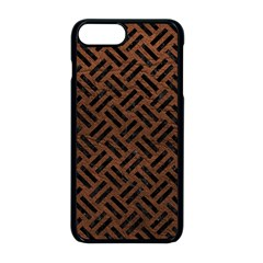 Woven2 Black Marble & Dull Brown Leather Apple Iphone 8 Plus Seamless Case (black) by trendistuff
