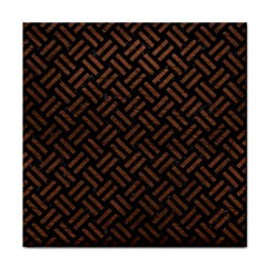 Woven2 Black Marble & Dull Brown Leather (r) Tile Coasters by trendistuff