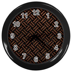 Woven2 Black Marble & Dull Brown Leather (r) Wall Clocks (black) by trendistuff
