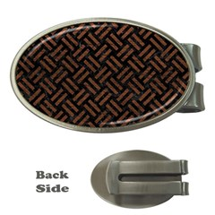 Woven2 Black Marble & Dull Brown Leather (r) Money Clips (oval)  by trendistuff