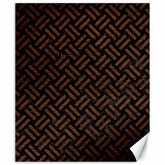 Woven2 Black Marble & Dull Brown Leather (r) Canvas 20  X 24   by trendistuff