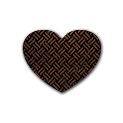 Woven2 Black Marble & Dull Brown Leather (r) Rubber Coaster (heart)  by trendistuff