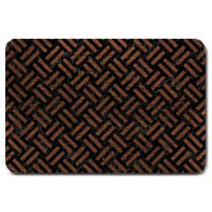 Woven2 Black Marble & Dull Brown Leather (r) Large Doormat  by trendistuff