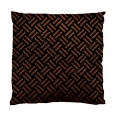 Woven2 Black Marble & Dull Brown Leather (r) Standard Cushion Case (one Side) by trendistuff