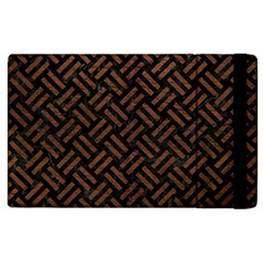 Woven2 Black Marble & Dull Brown Leather (r) Apple Ipad 2 Flip Case by trendistuff