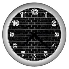 Brick1 Black Marble & Gray Brushed Metal (r) Wall Clocks (silver)  by trendistuff