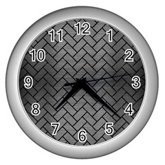 Brick2 Black Marble & Gray Brushed Metal Wall Clocks (silver)  by trendistuff