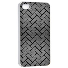 Brick2 Black Marble & Gray Brushed Metal Apple Iphone 4/4s Seamless Case (white) by trendistuff