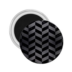 Chevron1 Black Marble & Gray Brushed Metal 2 25  Magnets by trendistuff