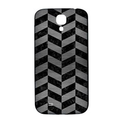Chevron1 Black Marble & Gray Brushed Metal Samsung Galaxy S4 I9500/i9505  Hardshell Back Case by trendistuff