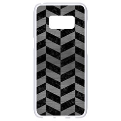 Chevron1 Black Marble & Gray Brushed Metal Samsung Galaxy S8 White Seamless Case