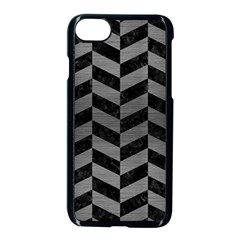 Chevron1 Black Marble & Gray Brushed Metal Apple Iphone 8 Seamless Case (black) by trendistuff