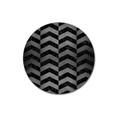 Chevron2 Black Marble & Gray Brushed Metal Magnet 3  (round) by trendistuff