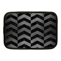 Chevron2 Black Marble & Gray Brushed Metal Netbook Case (medium)  by trendistuff