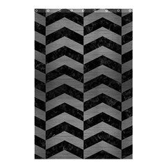 Chevron2 Black Marble & Gray Brushed Metal Shower Curtain 48  X 72  (small)  by trendistuff