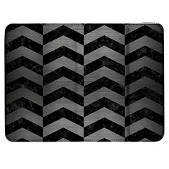 Chevron2 Black Marble & Gray Brushed Metal Samsung Galaxy Tab 7  P1000 Flip Case by trendistuff