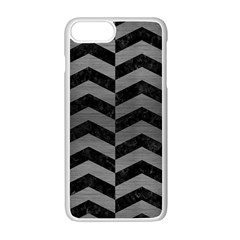 Chevron2 Black Marble & Gray Brushed Metal Apple Iphone 7 Plus Seamless Case (white) by trendistuff