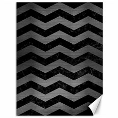 Chevron3 Black Marble & Gray Brushed Metal Canvas 36  X 48   by trendistuff